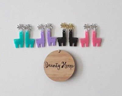 lucy the llama acrylic pink aqua purple black colourful dangle stud earrings
