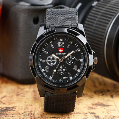 1Pack SWISS Round Dial Nylon Strap Band Men Boy Military Army Quartz Wrist Watch