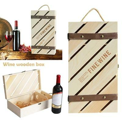 Wooden Wine Storage Box Champagne Wedding Double-wine Holder Carriers Gift Box