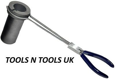 """1 Kg Graphite Crucible+ Tongs Holder Handle For Crucible Pouring Casting 13"""""""