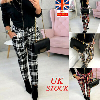 UK Womens Tartan Slim Pencil Pants Ladies Fitted Belt Pocket Casual Long Trouser