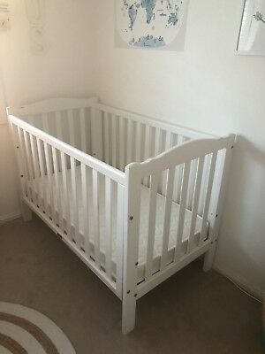 Love N Care White Baby Cot plus Mattress