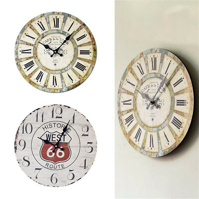 Vintage Wooden Wall Clock Large Shabby Chic Home Antique Style Roman Numerals