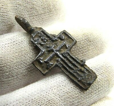 Authentic Late Medieval Bronze Cross Pendant - Wearable - G905
