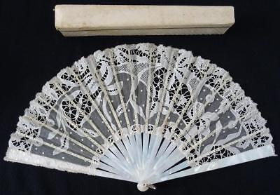 Antique Victorian Mother Of Pearl & Cream Tambour Lace Fan - Iris Flowers c1890
