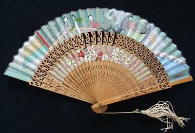 Vintage 1980s Chinese Cabriolet Fan - Wood & Hand Painted Fabric