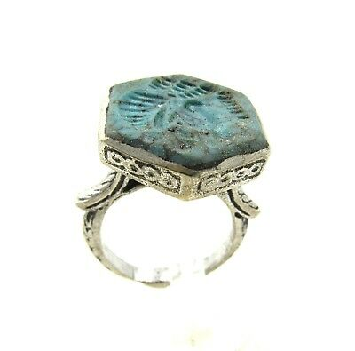 Authentic Post Medieval Silver Ring W/ Intaglio Bust - Wearable - G917