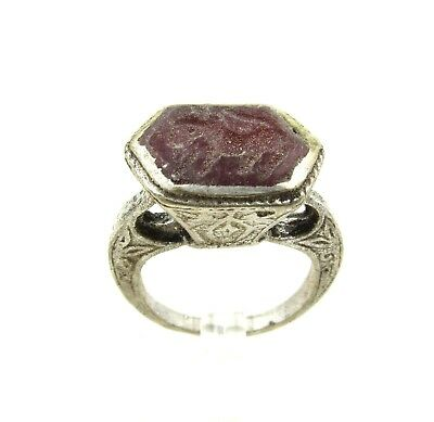 Authentic Post Medieval Silver Ring W/ Carnelian Horse - Wearable - G918