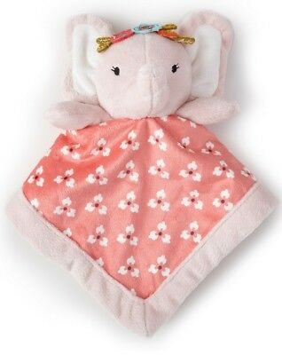 New Levtex Baby Pink Elephant Lovely Security Blanket Flowers Leaves Plush White