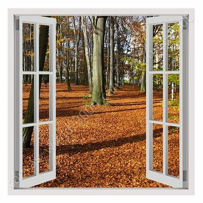 Fallen Leaves In Poland by Fake 3D Window   Ready to hang canvas   Wall art HD