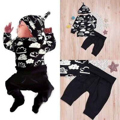 3PCS Baby Boys Long Sleeve tops + Pants + hat Set Kids Casual Clothes Outfits