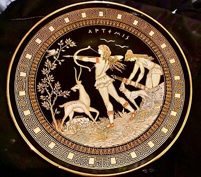 """Wall Plate Of The Goddess Artemis In 24k Gold Paint Made In Greece 12""""d Mint"""