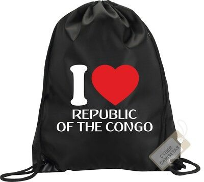 I Love Republica Del Congo Mochila Bolsa Saco Backpack Bag Republic Of The Congo