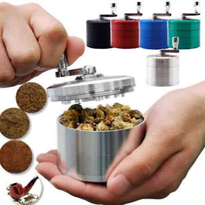 4 Piece Magnetic 2.5 Inch Black Tobacco Herb Grinder Spice Aluminum With Handle