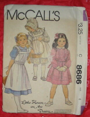 McCALL'S '83 uncut Pattern Little House on the Prairie Sz 6 Bonnet PINAFORE Dre