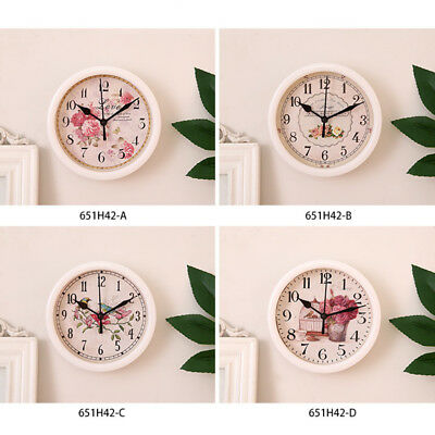 4 Type Simple Round Quartz Wall Hanging Clock Modern Home Bird Printed Face Time