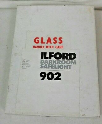 Vintage Ilford 902 Glass Darkroom Safelight Light Brown Original Box Instruction