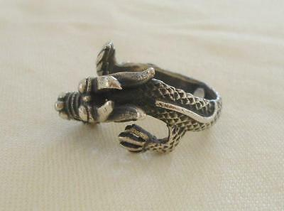 True Vintage Sterling Silver Dragon Ring Serpent Figural Size 8 Adjustable