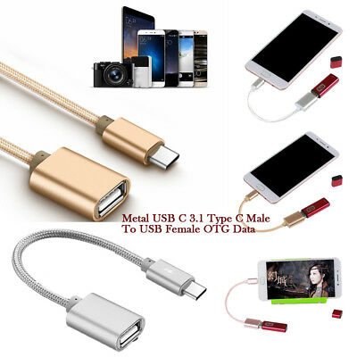 Metal USB C 3.1 Type C Male To USB Female OTG Data Sync Converter Adapter Cable