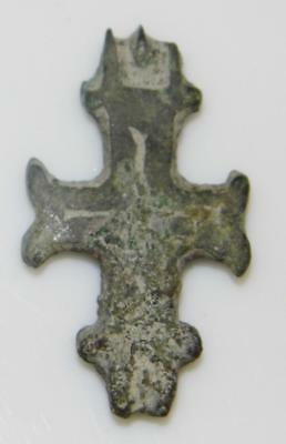 Medieval Byzantine Enkolpion Reliquary Cross Crucifix Bronze Theca Relic Holder