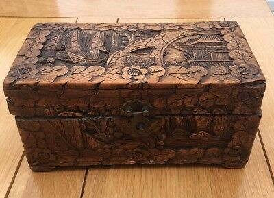 Vintage/antique Small Ornately Carved Wooden Box
