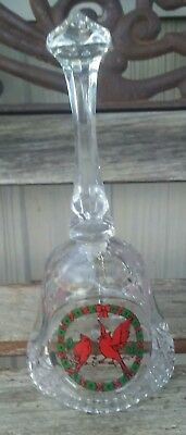 """Vintage Clear Glass Bell With Beautiful Painted Cardinals 8"""" Tall"""