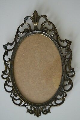 "10"" Vintage Italy Antique Brass Metal 5 x 7 Frame w/Convex- Curved- Bubble Glass"