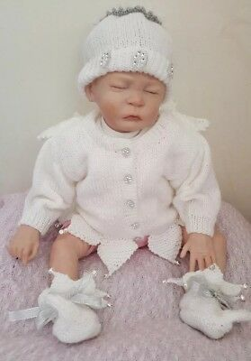 Baby Girl Christmas Angel  Outfit cardigan Hat Booties hand knitted 0-3months