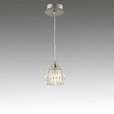 Brushed Nickel Mini Pendant Hanging Lights with Groove Clear Glass Shade, Bulb