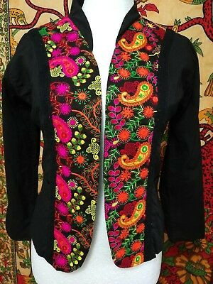 Lila Shyam Black Open Jacket Bolero with Colourful Embroidery Boho Indian M-L