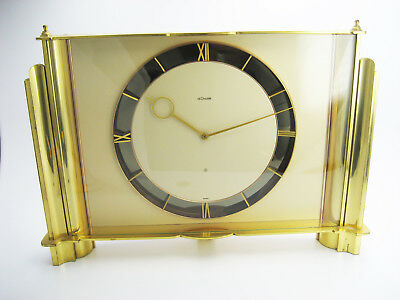 Art Deco Jaeger LeCoultre Swiss 8 Day Brass Mantle Shelf Table Clock # 232