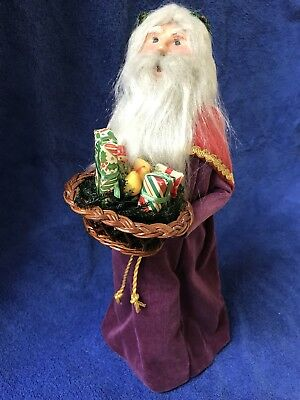 Byers Choice Father Christmas 1991 with Gift Basket Purple Robe EC
