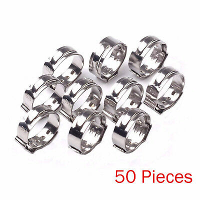 50PCS 1/2 PEX 17.5mm Stainless Steel Clamp Cinch Rings Crimp Pinch Fittings