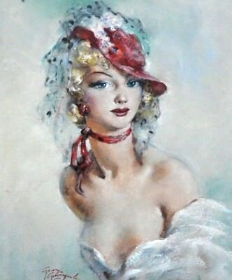 G.  Guinegault French Amazing Oil Painting Portrait of Young Lady