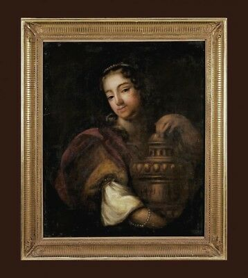 Portrait Of Young Lady  18th Century Amazing Antique Italian  Oil Painting
