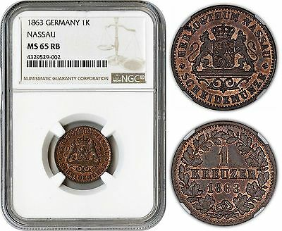 German States (Nassau) 1 Kreuzer 1863 (Ngc Ms65Rb) *ngc Pop 1/0*