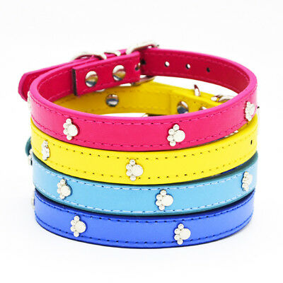 Newest Leather Pure Color Cute Dog Pet Cat Puppy Collar Neck Buckle Adjustable