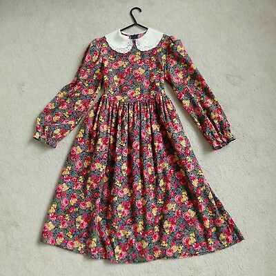Laura Ashley Vintage Girls Dress Mother And Child Pink Floral Lace Collar Age 9