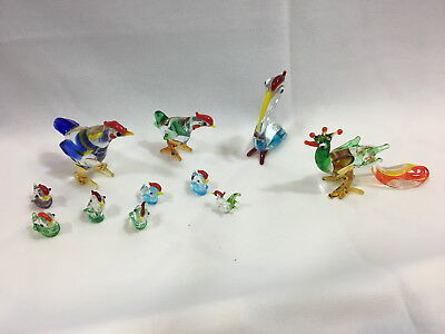 Vintage Hand Blown Glass Lot of Miniature Birds - Chicken, Rooster, mini-chic...