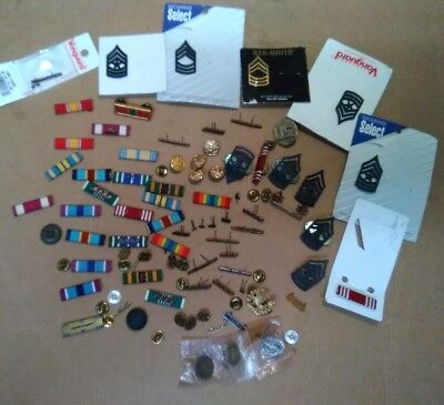 Large Lot of Vintage to Now Military Pins, Ribbons and misc Extras! CHECK IT OUT