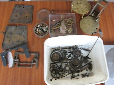 Antique Double Weight Vienna Wall Clock Movement & French Empire Parts Winders