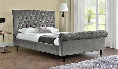 Double Sleigh Bed Upholstered Fabric Frame Velvet Chenille Double or King Size