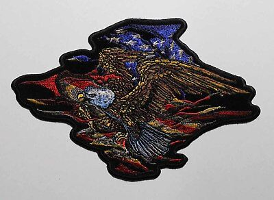 Patriotic Embroidered iron On Patch - Bald Eagle American US Flag 001