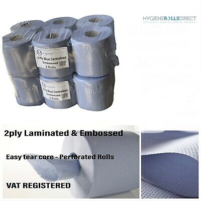 6 Pack 2 Ply Blue Embossed Centre Feed Paper Wipe Rolls **Special Offer***