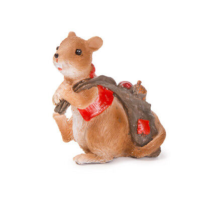 Miniature Dollhouse FAIRY GARDEN - Fall Mouse With Bag - Accessories