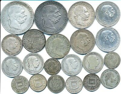 21 Old Silver Coins From Austria 1832-1925