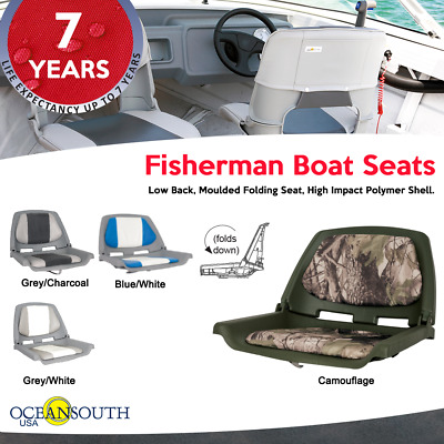 Fisherman Boat Seats Camouflage Low Back, Moulded Folding Seat