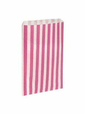 100 x Pink  White Candy Stripe  Striped Paper Sweet Party Bags - 5 x 7 by Swoo