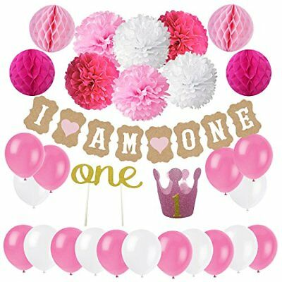 Baby Arrivals Source FIRST 1ST BIRTHDAY Girl DECORATIONSPink Theme Kit Set 1st