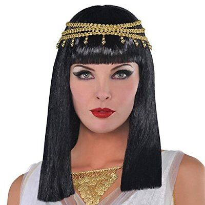 Amscan Gracious Gods and Goddess Egyptian Queen Wig 1 Piece, One Size, BlackG